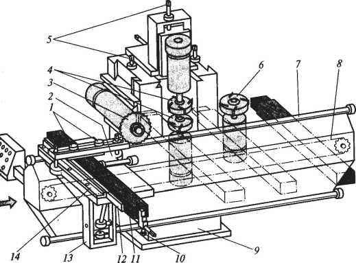 Схема одностороннего шипорезного станка