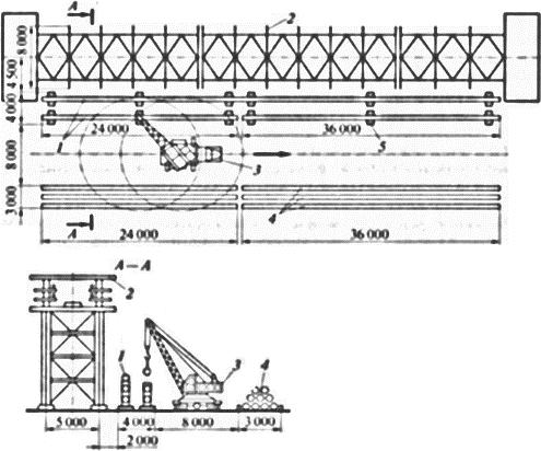 Схема перемещаемой площадки для сборки трубопроводных блоков