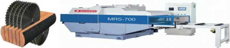 Схема работы и общий вид многопильного двухвального станка MRS700 для распиловки бруса