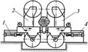 Схема сдвоенного вертикального ленточнопильного станка для бревен