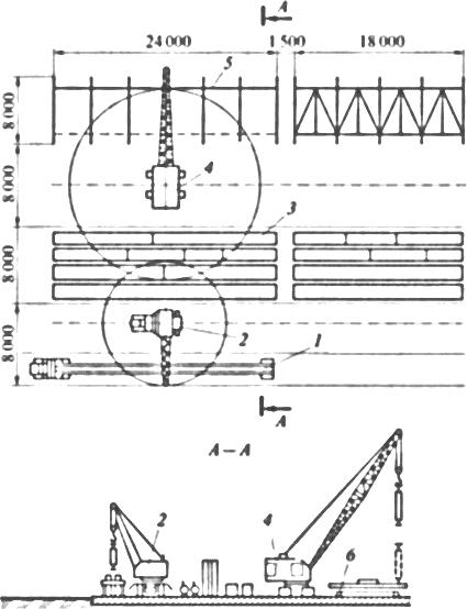 Схема стационарной площадки для сборки комбинированных блоков металлических ферменных эстакад