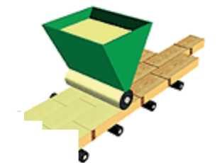 Схема станка для нанесения клея наливом