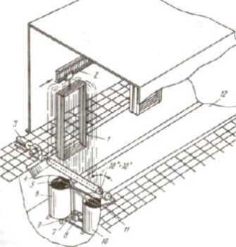 Схема установки струйного облива столярных изделий