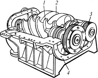 Винтовой компрессор с шестернями связи