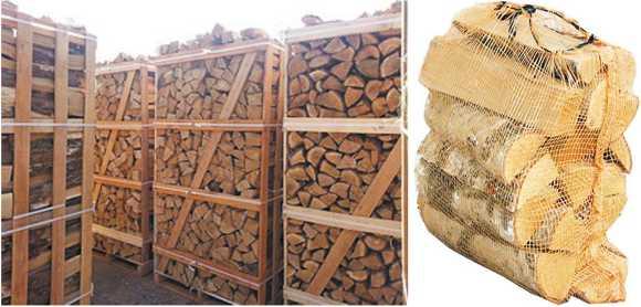 Каминные дрова в ящиках и сетках