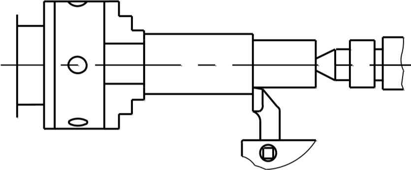 Схема обработки вала с закреплением в патроне