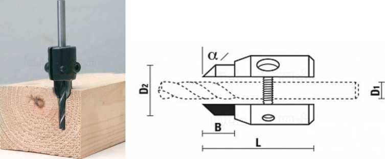 Зенкер А199 — вид просверленного отверстия и эскиз зенкера