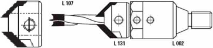 Зенкер и зенкер L131 в сборе со сверлом L107 и патроном L002