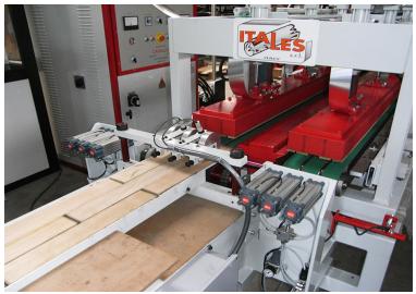 Зона прессования и полимеризации клея линии для изготовления верхнего слоя паркета