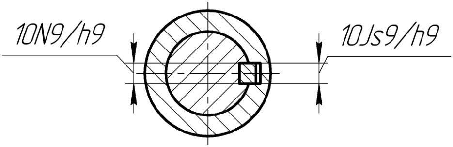 Обозначение посадок шпонки на вал и во втулку на сборочных чертежах